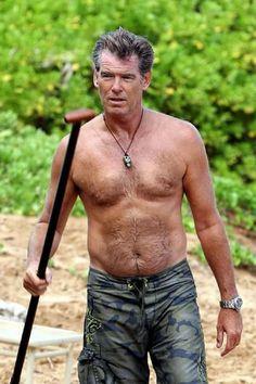 Pierce Brosnan: still way hot Beautiful Celebrities, Beautiful Men, Pierce Brosnan, Richard Gere, Sean Connery, Hairy Chest, Mature Men, Shirtless Men, Older Men