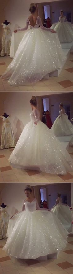 Bling Bling Sequins And Pearl Beaded Long Sleeves Wedding Dresses Ball Gowns 2018