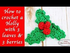 How to crochet a Holly with 3 leaves and 3 berries. In this video you will learn how to crochet a holly with 3 leaves and 3 berries. For more information on the pattern, including detailed pictures see this link: . Christmas Yarn, Christmas Ornament Crafts, Christmas Decor, Irish Crochet, Free Crochet, Knitting Patterns, Crochet Patterns, Crochet Leaves, Holly Leaf