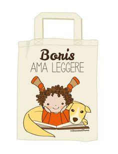 Borsa personalizzata AMO LEGGERE. La borsa per i bimbi che amano i libri!