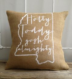 We love this Ole Miss burlap pillow — very cute!