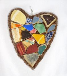 Sea Glass Sea Pottery Decorative Heart Sea Pottery by oceansbounty, $22.00