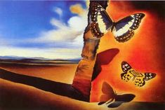 Salvador Dali Paysage aux papillons (Landscape with Butterflies) painting is shipped worldwide,including stretched canvas and framed art.This Salvador Dali Paysage aux papillons (Landscape with Butterflies) painting is available at custom size. Salvador Dali Gemälde, Salvador Dali Paintings, Butterfly Painting, Butterfly Art, Madame Butterfly, Butterfly Kisses, Butterfly Design, Art Papillon, Poster Prints