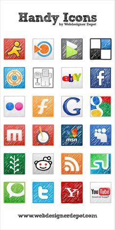 This is a set of 24 free vector icons available from Webdesigner Depot. they each have a hand drawn sketchy design to them. The set also includes most social media websites, such as Delicious, Digg and many more.