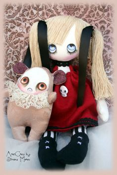"""Isabella #handmade #gothic cloth #doll with skull and """"grumpie"""" monster by AresCrea, $70.00"""