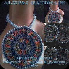 Delicious Denim Crochet Earrings and Necklace Set
