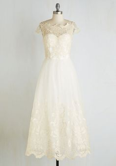 Sparkling Celebration Dress. For an occasion unlike any other, this ivory gown from Chi Chi London is sure to dazzle. #white #wedding #bride #prom #modcloth
