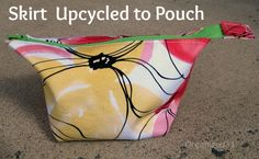 Skirt Upcycled to zippered pouch, plus upcycled tshirt cusion cover and laundry bag ideas.