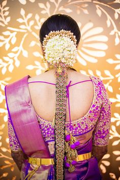 South Indian bride. Gold Indian bridal jewelry.Temple jewelry. Jhumkis. Purple…