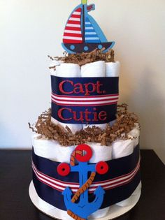 nautical baby shower for boy | Nautical Diaper Cake Boy Baby Shower by BabeeCakesBoutique on Etsy, $ ...