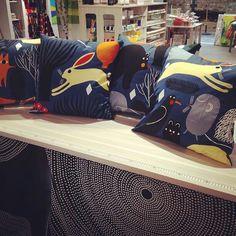 Marimekko cushions. Huhuli design. Bolt of cloth