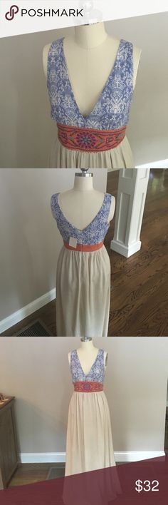 Flying Tomato Maxi Dress Blue and white top mixed with a burnt orange waistband give this maxi dress a boho-tribal look - perfect for the summer!! Size Small Petite. NWT. Flying Tomato Dresses Maxi