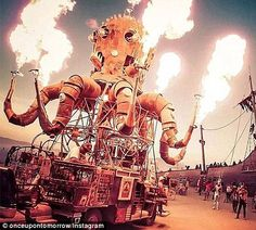 Different: Those who attend the event are known as 'burners' and their eccentricities are encourage by all those who join them at the Burning Man festival which is now in its 28th year