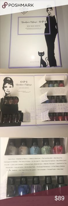 ‼Final Price Drop‼ OPI Breakfast at Tiffanys Set OPI NWT Breakfast at Tiffany's Mini Mani Month Nail Polish Set. Limited Edition set of 25 mini colors from the best selling Breakfast at Tiffany's collection. I haven't used any of the colors at all, only opened to take photos. Posted price is lowest! This is a collector's item  OPI Makeup