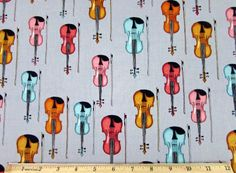 Dan Morris Perfect Pitch Violin Fiddle Gray Fabric From RJR
