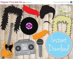 20% OFF SALE INSTANT Download - Rockstar 80's Photo booth Props - Printable - Boombox, guitar, record