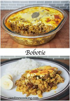 bobotie - often considered the national dish of South Africa, it's a delicious combination of ground meat, fruit and spices. Moist, mildly curry flavored and with a slight sweetness. Such a tasty recipe! Can be made ahead and frozen too. Dutch Recipes, Irish Recipes, Cooking Recipes, South African Dishes, South African Recipes, Tasty Recipe, Curry Mince Recipe, South Africa, Kitchens