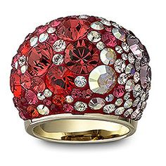 Chic Multi Red Ring  Chic, indeed! This gold-plated cocktail ring shines with crystals in a stunning gradient of red tones. Set with the Pointiage® technique, the ring is a pure fashion statement that certainly won't go unnoticed. Play with the reflections as you twirl the gleaming ring on your finger.  Article no.: 1041086  Ringsize    Calculate your ring size  $ 270.00
