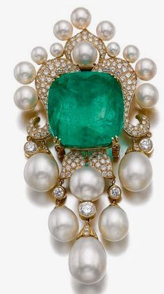 Emerald, Pearl and Diamond Brooch
