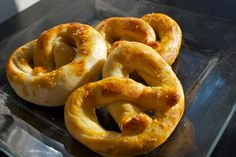 "Chewy Soft Pretzels- just like Wetzels pretzels! I made ""wetzels bites"" and coated them in parm cheese & garlic salt and another batch in cinammon & sugar. Sooo yummy!"