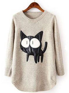 Jersey gato polipiel - Sheinside