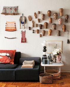 Apê de 100 m² de Marcelo Rosenbaum tem referências a cultura indígena
