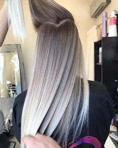 Pretty Ombre Balayage Hairstyle for Long Hair, 2019 Long Hair Color and Haircuts - frisuren Ombre Hair Color, Hair Color Balayage, Hair Highlights, Balayage Hairstyle, Cool Blonde Balayage, Balayage Long Hair, Long Ombre Hair, Balayage Hair Ash, Hair Colour