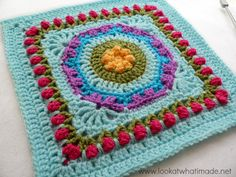 """Fountain of Roses (12"""") Photo Tutorial - Look At What I Made: Block A Week CAL 2014 - Block 41. Free crochet pattern by Shan Sevcik."""