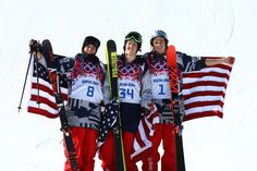 Silver medalist Gus Kenworthy of the United States, gold medalist Joss Christensen of the United States and bronze medalist Nicholas Goepper of the United States pose after the Freestyle Skiing Men's Ski Slopestyle Finals (c) Getty Images