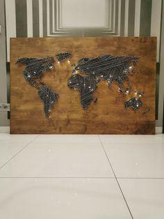 Do it yourself ;-) #map # worldmap #craft #handmade #wood #wool #worldinspiration #diy Me On A Map, String Art, Maps, Wool, Metal, Pattern, Handmade, Diy, Crafts