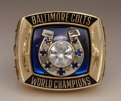 This Baltimore Colts Super Bowl V Champions Gold Ring is manufactured by Jostens (Stamped Jostens This amazing ring is a salesman sample with Klosterman on the side. - This Baltimore Colts Super Bowl V Champions Gold Ring is manufactured by Jostens - Baltimore Colts, Indianapolis Colts, 10k Gold Ring, Gold Rings, Colts Super Bowl, Super Bowl Rings, Championship Rings, Diamond, Accessories