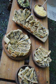 Medieval Food: Mushroom tart and cheese and egg salad,14th century recipe