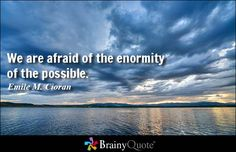 We are afraid of the enormity of the possible. - Emile M. Cioran
