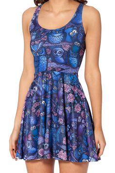 Brand New Dark Blue Owl Skater Dress - 8 10 12 - Animal Cute Bird Navy  Gentleman Pyschobilly Horror Nurse Pin Up Rockabilly Summer Geek Chic. aec5700f8
