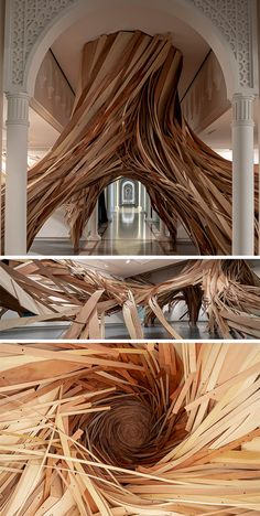 house drawing Giant Ribbons of Wood Form Twisting Root Structures in Expansive Installation Installation Architecture, Art And Architecture, Installation Art, Art Installations, Root Structure, Page Layout Design, Large Scale Art, Colossal Art, English Artists