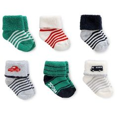 Just One You™Made by Carter's® Baby Boys' 6 Pack Transportation Terry Cuff Socks…