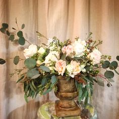 Garden Roses Ranunculus Spray Seeded Eucalyptus Silver Dollar Waxflower