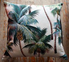 palm tree barkcloth 45cm sq cushion cover par homeworksdesignstore