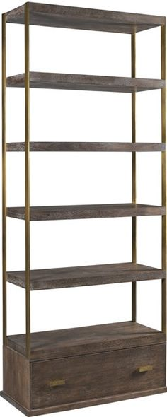 The Compton Bookcase Finds Its Roots In Industrial Design. The Bronze Metal Straps Solidly Anchor The Walnut Drawer Base To The Upper Tiered Shelves Providing Exacting Form And Great Fundtion With A M