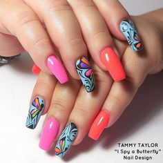 I Spy a Butterfly Nail Design by Gisela Marti, our Creative Director! Find out how to do these incredible nails by going onto our Pinterest Page and looking under Nail Tutorials!!!