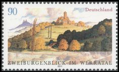 Ludwigstein castle (Hessia) and castle ruin Hanstein (Thurin German Stamps, Germany Castles, Castle Ruins, World Best Photos, Science And Nature, Postage Stamps, Wildlife, Painting, Art