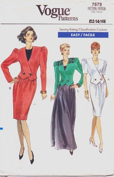 1980s Vogue Pattern 7679 Womens Jacket & Skirt Size by CloesCloset, $8.00