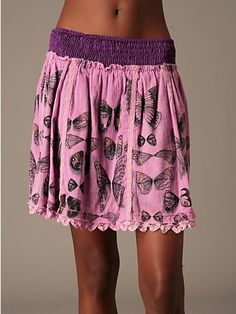 $98 Free People Butterfly Drindle Skirt in Fuschia Pink Size Small
