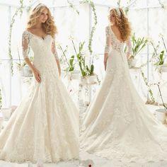 Vestidos De Novia Wedding Gowns V Neckline Long Sleeve Lace Mermaid