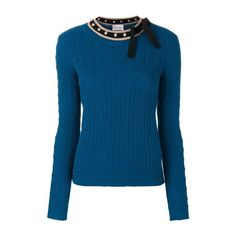 RED VALENTINO Studded Bow Tie Pullover (€390) ❤ liked on Polyvore featuring tops, sweaters, blue, red valentino sweater, blue sweater, pullover top, blue pullover sweater and pullover sweater