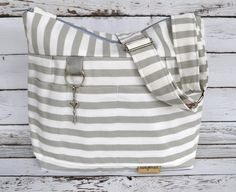Camera bag in Stockholm Cement Grey Stripe, waterproof base -Lightweight and durable! by Darby Mack made in the USA