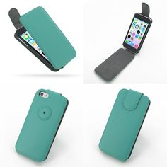 PDair Ultra Thin Leather Case for Apple iPhone 5c - Flip Top Type (Aqua)