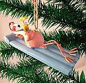 Lounging Pink Flamingo Christmas Ornament