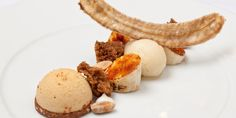 An extraordinary peanut and banana dessert recipe from Great British Chef Nigel Mendham includes sous vide banana, banana cake and sherbet, as well as a peanut crunch and parfait Sorbet, Cocoa Butter Cream, Banana Dessert Recipes, Great British Chefs, Caramelized Bananas, Crunch, Plated Desserts, Food Plating, Fine Dining