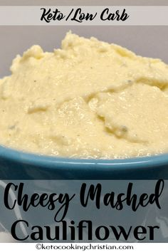 Cheesy Mashed Cauliflower - Keto and Low Carb Shredded cheddar and mascarpone cheese make this mashed cauliflower so creamy and full of flavor! Ketogenic Recipes, Low Carb Recipes, Ketogenic Diet, Protein Recipes, Cheesy Mashed Cauliflower, Keto Side Dishes, Grass Fed Butter, Diet Plan Menu, Low Carb Keto